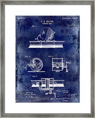 1891 Fishing Reel Patent Drawing Blue Framed Print by Jon Neidert
