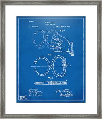 1891 Police Nippers Handcuffs Patent Artwork - Blueprint Framed Print by Nikki Marie Smith