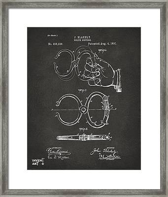 1891 Police Nippers Handcuffs Patent Artwork - Gray Framed Print by Nikki Marie Smith