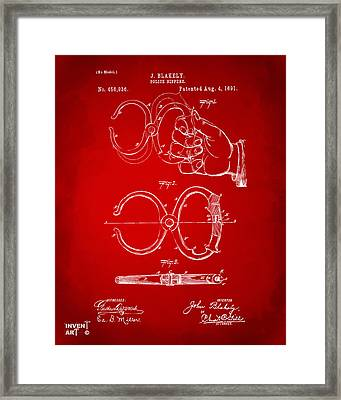 1891 Police Nippers Handcuffs Patent Artwork - Red Framed Print by Nikki Marie Smith