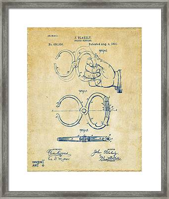 1891 Police Nippers Handcuffs Patent Artwork - Vintage Framed Print by Nikki Marie Smith