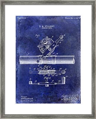 1892 Fishing Reel Patent Drawing Blue Framed Print by Jon Neidert