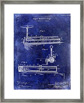 1893 Cigar Makers Gage Patent Drawing Blue Framed Print by Jon Neidert