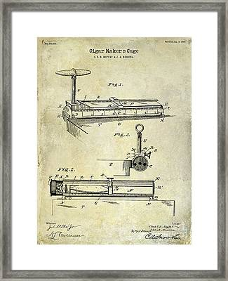 1893 Cigar Makers Gage Patent Drawing  Framed Print by Jon Neidert