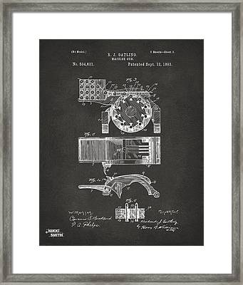 1893 Gatling Machine Gun Feed Patent Artwork - Gray Framed Print by Nikki Marie Smith