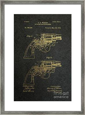1894 Wesson Revolver Lock Mechanism Patent Art 2 Framed Print by Nishanth Gopinathan