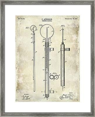 1896 Fishing Device Patent Drawing Framed Print by Jon Neidert