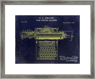 1896 Type Writer Patent Drawing Blue Framed Print by Jon Neidert