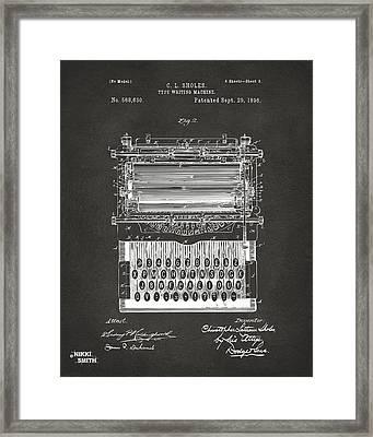1896 Type Writing Machine Patent Artwork - Gray Framed Print by Nikki Marie Smith