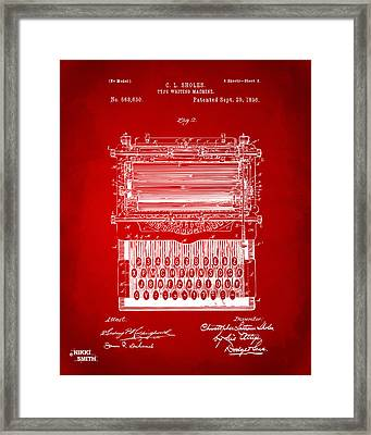 1896 Type Writing Machine Patent Artwork - Red Framed Print by Nikki Marie Smith