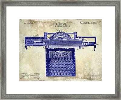 1896 Type Writing Machine Patent Drawing Two Tone Framed Print by Jon Neidert