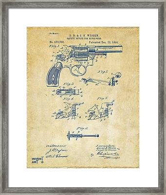 1896 Wesson Safety Device Revolver Patent Artwork - Vintage Framed Print by Nikki Marie Smith