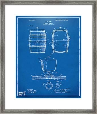 1898 Beer Keg Patent Artwork - Blueprint Framed Print by Nikki Marie Smith