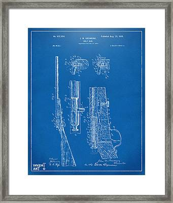1899 Browning Bolt Gun Patent Blueprint Framed Print by Nikki Marie Smith