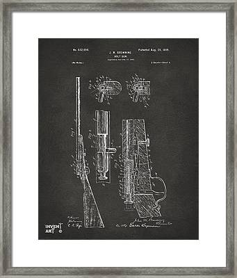 1899 Browning Bolt Gun Patent Gray Framed Print by Nikki Marie Smith