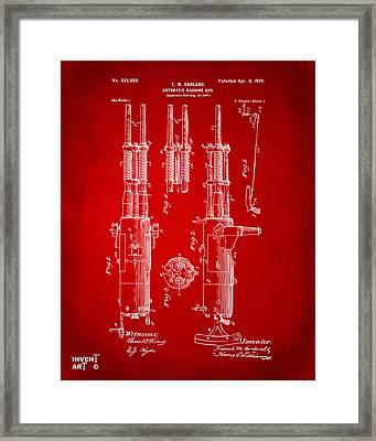 1899 Garland Automatic Machine Gun Patent Artwork - Red Framed Print by Nikki Marie Smith
