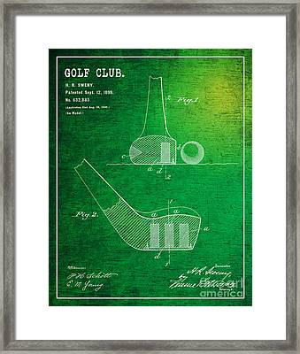 1899 Golf Club Patent Art H.r.sweny 2 Framed Print by Nishanth Gopinathan