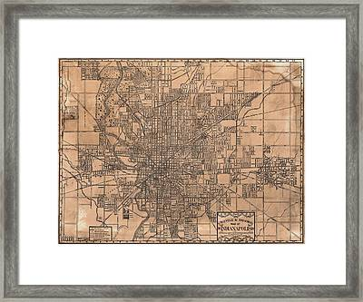 1899 Indianapolis Map Framed Print by Dan Sproul
