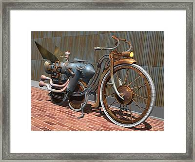 1899 Inline Steam Trike Framed Print by Stuart Swartz