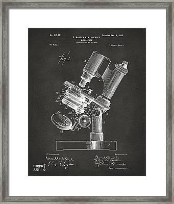 1899 Microscope Patent Gray Framed Print by Nikki Marie Smith