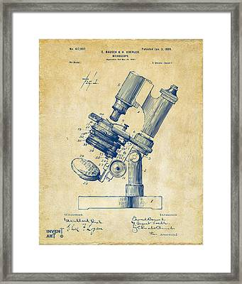 1899 Microscope Patent Vintage Framed Print by Nikki Marie Smith