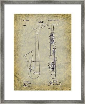 1899 Paul Evette Saxophone Patent Framed Print by Barry Jones