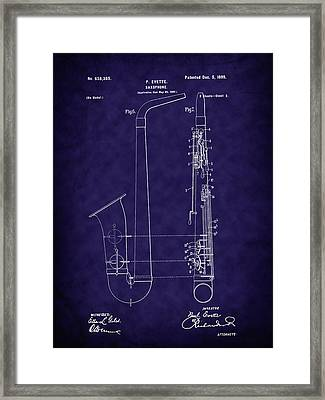 1899 Paul Evette Saxophone Patent - Blue Framed Print by Barry Jones