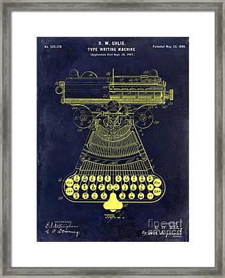 1899 Type Writer Patent Drawing Blue Framed Print by Jon Neidert