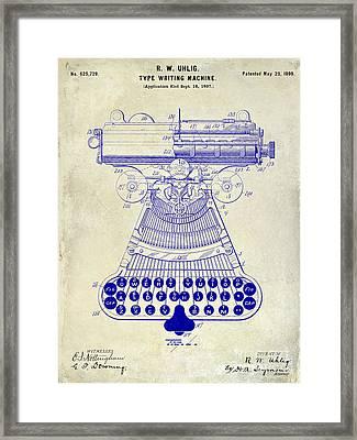 1899 Type Writer Patent Drawing  Framed Print by Jon Neidert