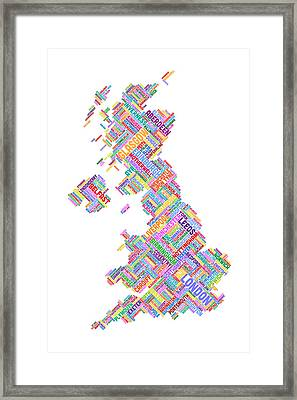Great Britain Uk City Text Map Framed Print by Michael Tompsett