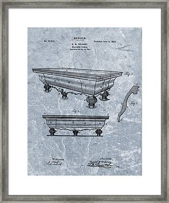1900 Billiards Table Patent Blue Framed Print by Dan Sproul