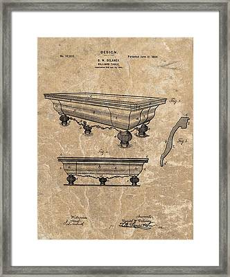 1900 Billiards Table Patent Framed Print by Dan Sproul