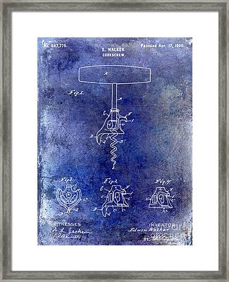 1900 Corkscrew Patent Drawing Blue Framed Print by Jon Neidert