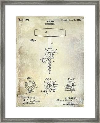 1900 Corkscrew Patent Drawing Framed Print by Jon Neidert