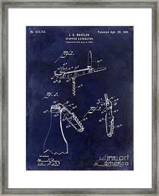 1901 Corkscrew Patent Drawing Blue Framed Print by Jon Neidert