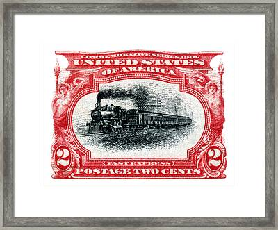 1901 Fast Express Railroad Stamp  Framed Print by Historic Image