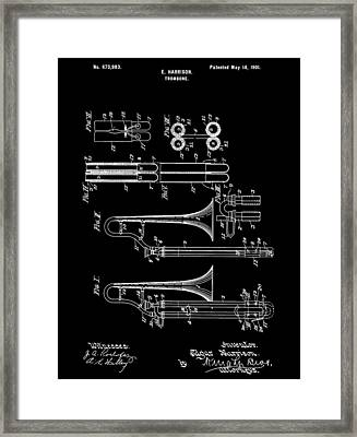 1901 Trombone Patent Framed Print by Dan Sproul