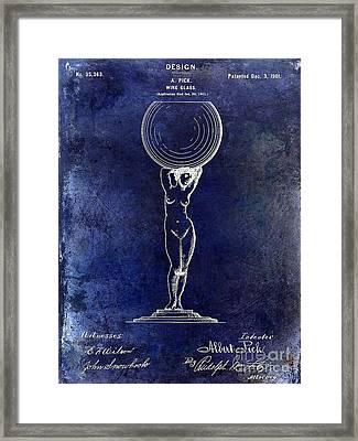 1901 Wine Glass Design Patent Blue Framed Print by Jon Neidert