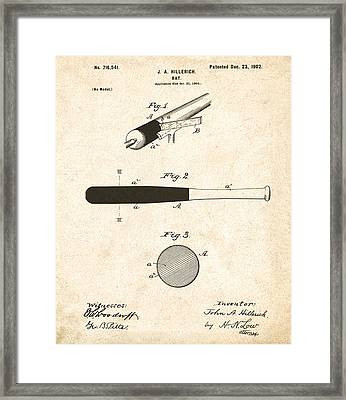 1902 Baseball Bat Patent Framed Print by Digital Reproductions