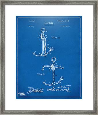 1902 Ships Anchor Patent Artwork - Blueprint Framed Print by Nikki Marie Smith