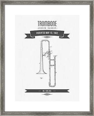 1902 Trombone Patent Drawing Framed Print by Aged Pixel