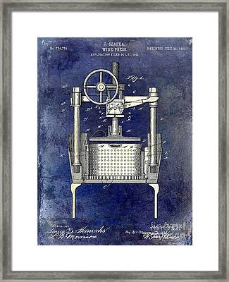1902 Wine Press Patent Drawing 2 Tone Blue Framed Print by Jon Neidert