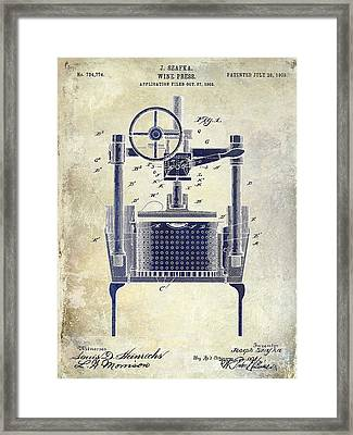 1902 Wine Press Patent Drawing 2 Tone Framed Print by Jon Neidert