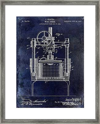 1902 Wine Press Patent Drawing Blue Framed Print by Jon Neidert