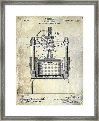 1902 Wine Press Patent Drawing Framed Print by Jon Neidert