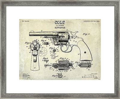 1903 Colt Revolver Patent Drawing Framed Print by Jon Neidert