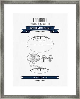1903 Football Patent Drawing - Navy Blue Framed Print by Aged Pixel
