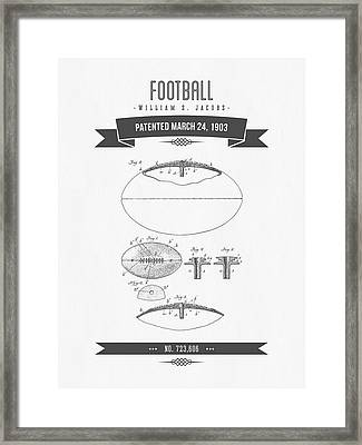 1903 Football Patent Drawing - Retro Gray Framed Print by Aged Pixel