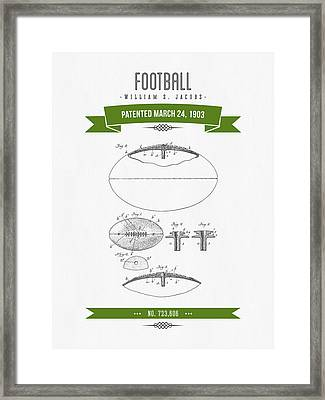 1903 Football Patent Drawing - Retro Green Framed Print by Aged Pixel