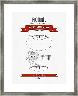 1903 Football Patent Drawing - Retro Red Framed Print by Aged Pixel